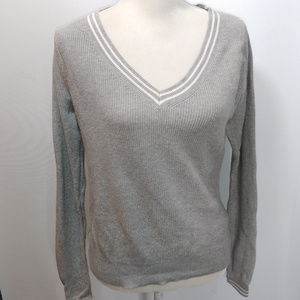 Uniqlo S Sweater Gray V Neck Long Sleeve Pullover